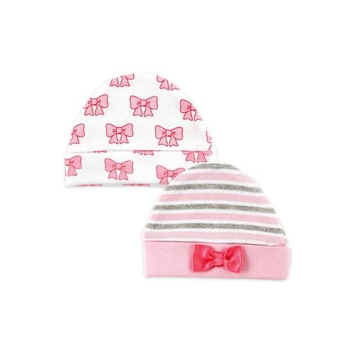 """Комплект Hudson Baby Шапочки """"Бантик"""", 2 шт., цвет розовый-полоска 0-6 мес. (55-67 см)"""