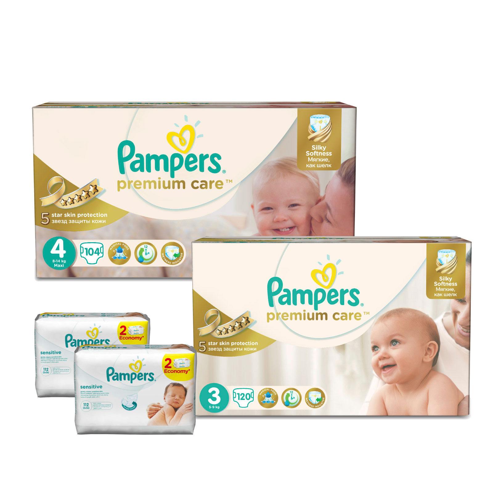 Набор Pampers № 4 Мягкость шелка Premium Care (3-4 размеры)<br>