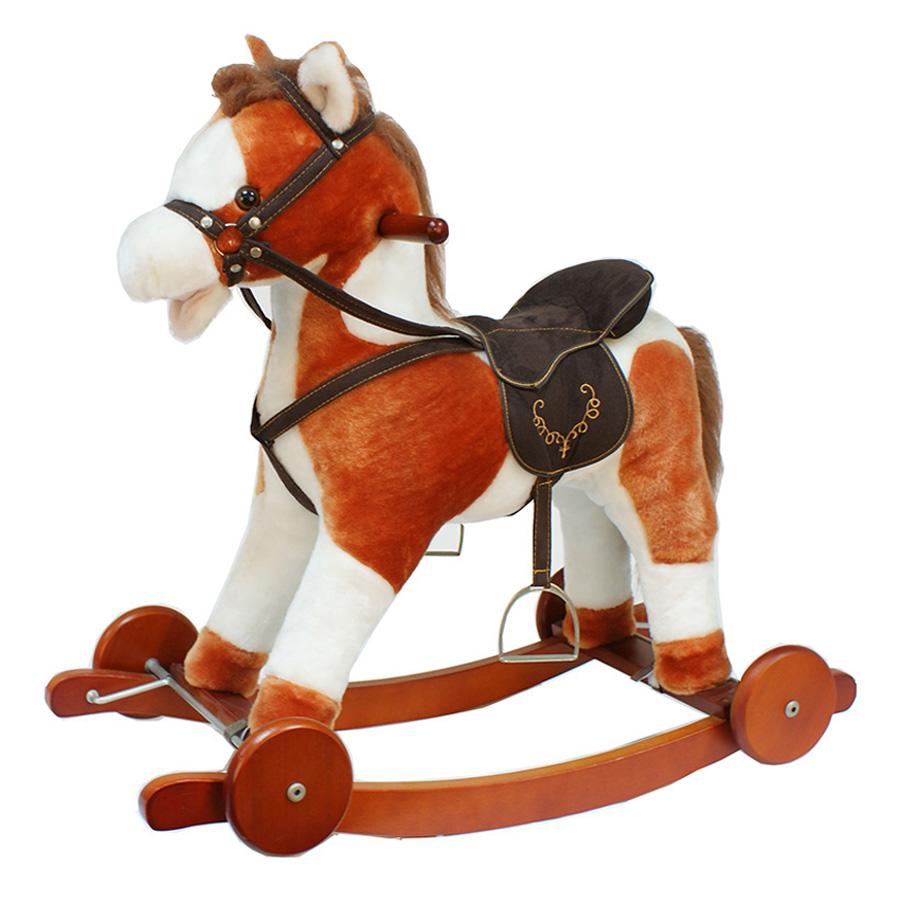 Качалка-Лошадка Pituso Fandango с колесами Рыжий с белым с шарфиком<br>