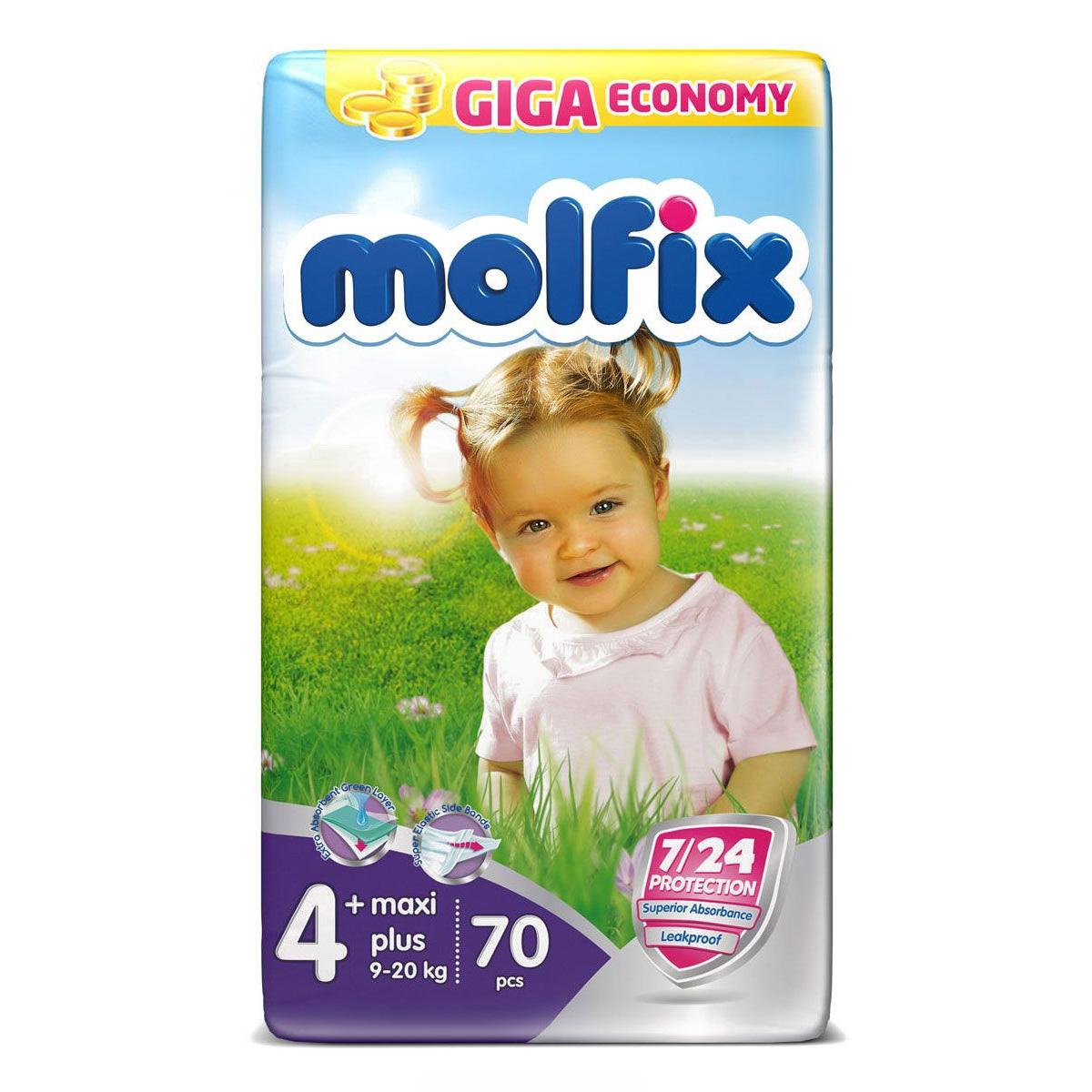 Подгузники Molfix Maxi Plus 9-20 кг. (70 шт.) Размер 4+