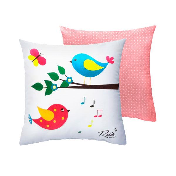 Подушка Roxie Птички с наволочкой на молнии Розовый горох<br>
