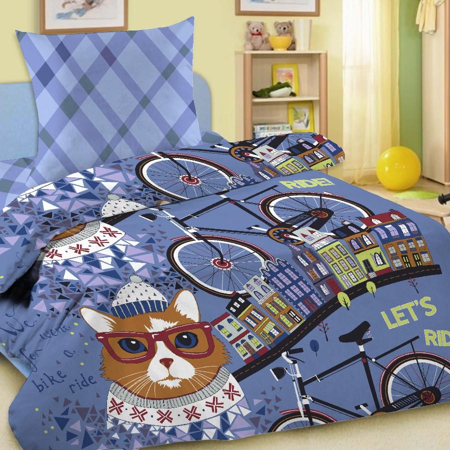 Комплект постельного белья детский Letto с наволочкой 50х70 Велокот Синий<br>