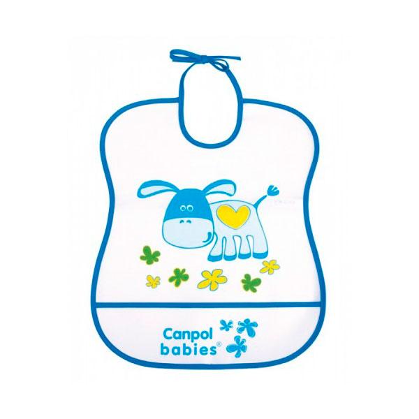 Нагрудник Canpol Babies с полимерным покрытием синий (с 6 мес)<br>
