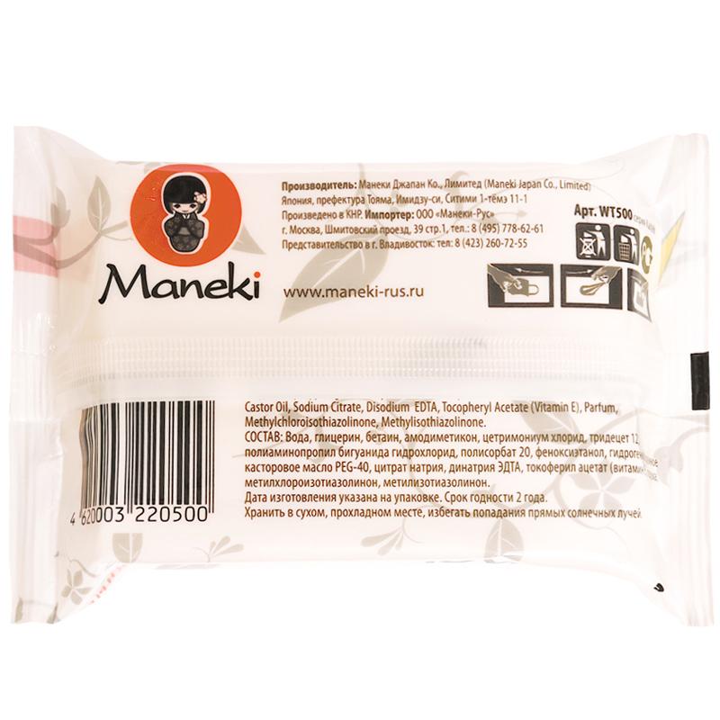Салфетки влажные Maneki Kaiteki Для всей семьи с витамином Е и увлажняющим лосьоном 25 шт