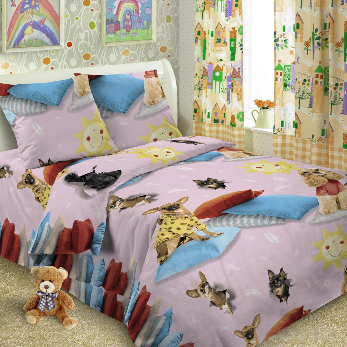 Комплект постельного белья детский Letto Собачки Розовый<br>