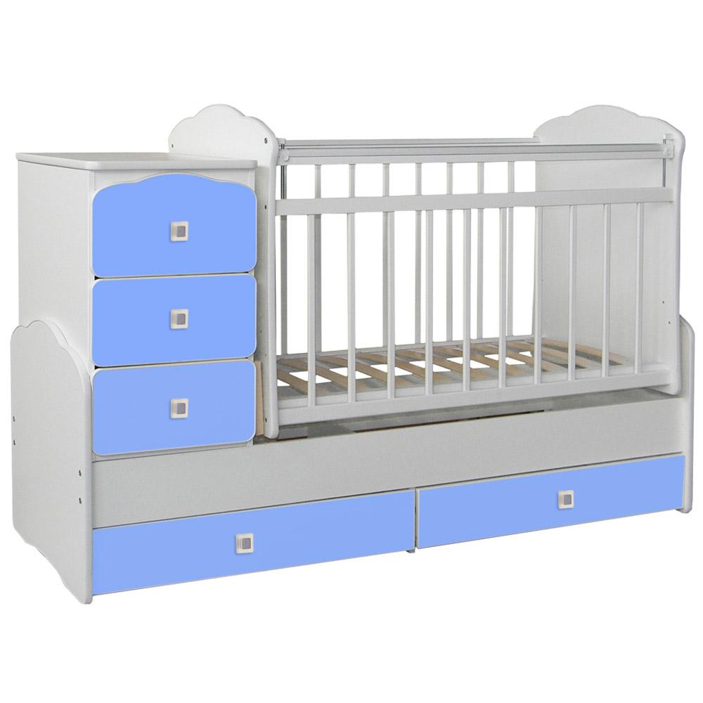 Кроватка-трансформер СКВ компани 93003 Белая фасады голубые 930032-3<br>