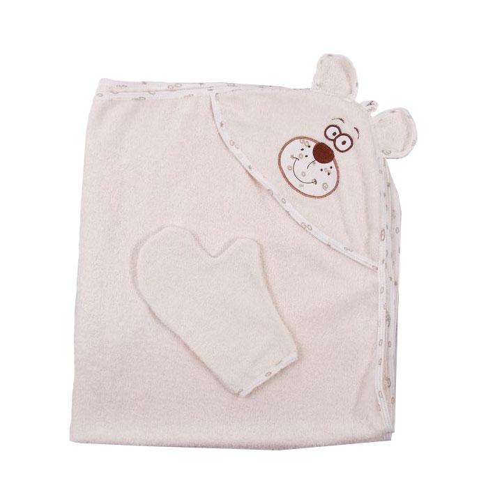 Полотенце-уголок Осьминожка Мишка с вышивкой махровое Бежевое<br>