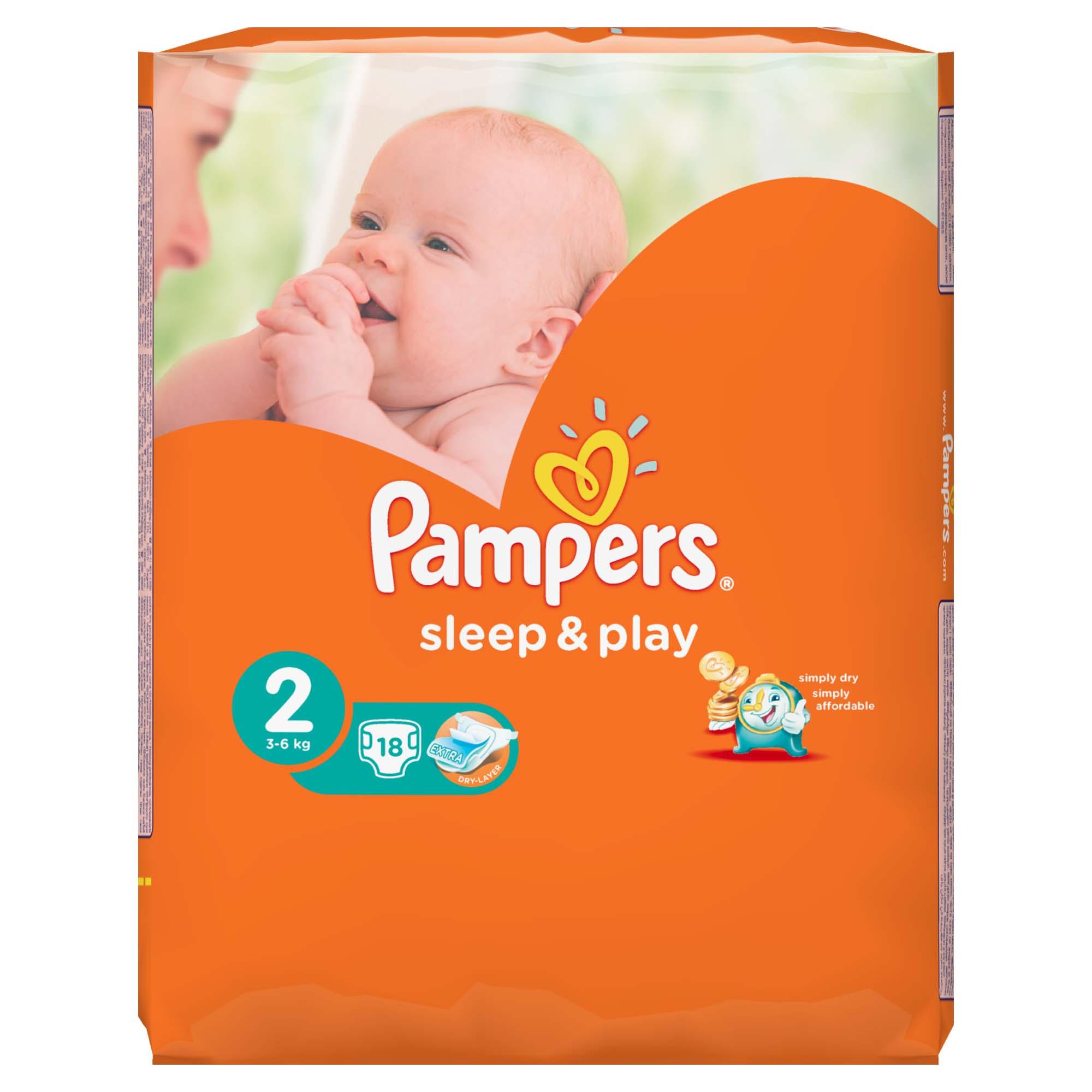 Подгузники Pampers Sleep&amp;amp;Play Mini 3-6 кг (18 шт) Размер 2<br>