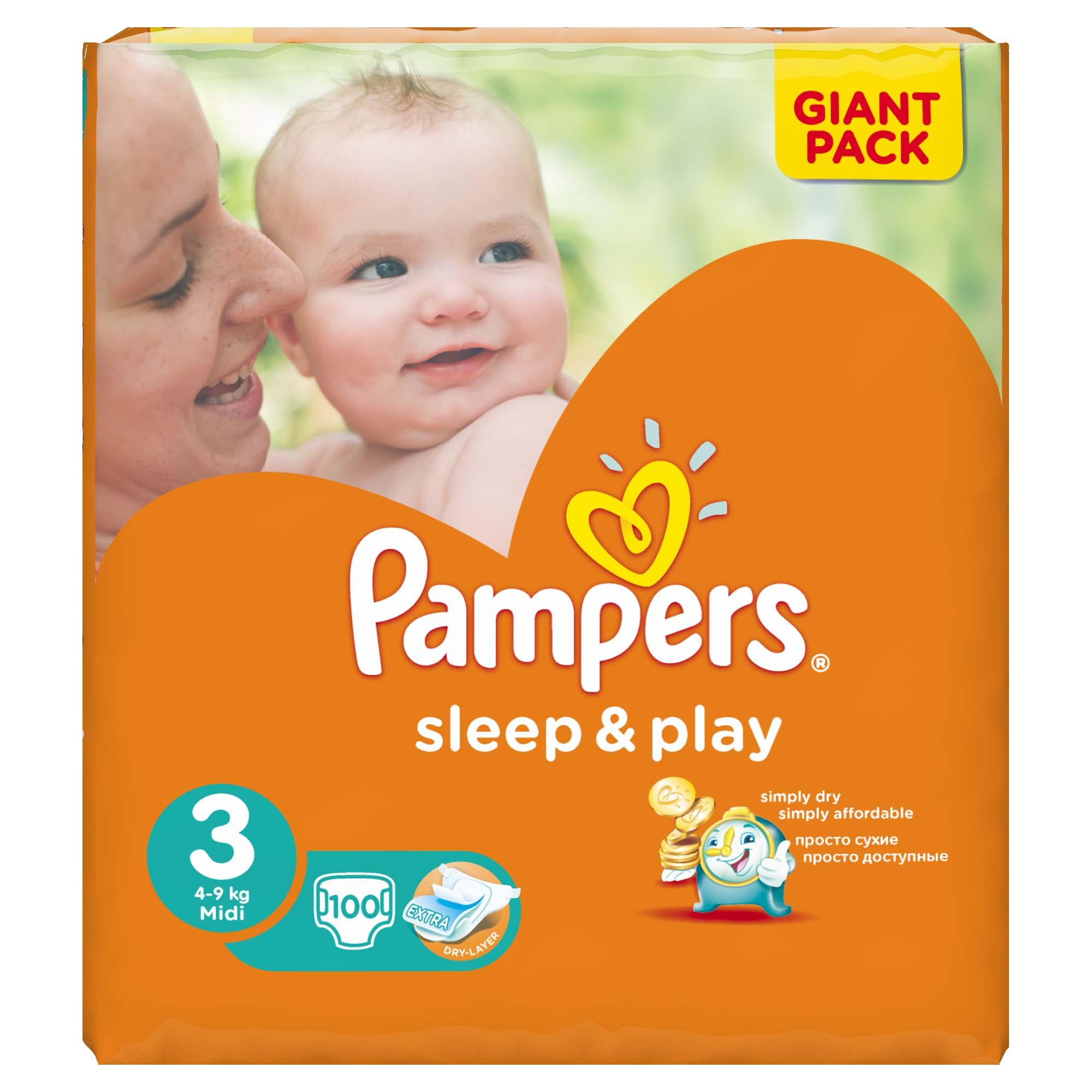 Подгузники Pampers Sleep&amp;amp;Play Midi 4-9 кг (100 шт) Размер 3<br>