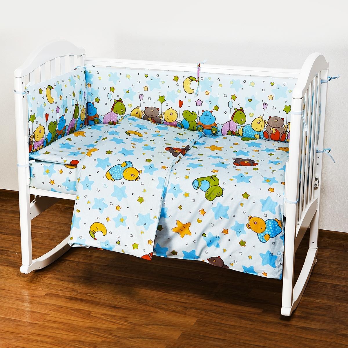 Комплект в кроватку Споки Ноки 6 предметов Звездопад (голубой, желтый, розовый)<br>