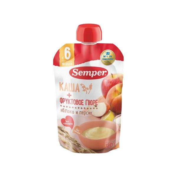 Пюре Semper фруктовое с кашей 120 гр Яблочно персиковое (с 6 мес)<br>