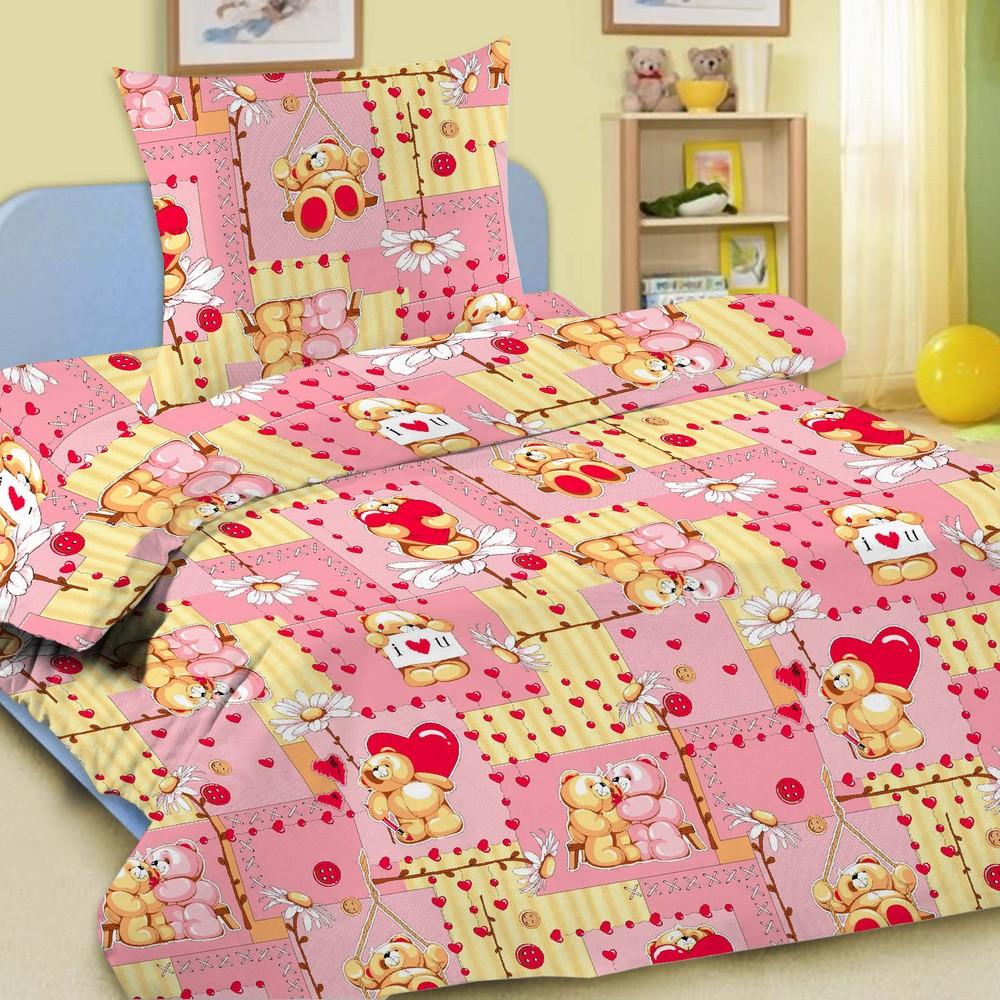 Комплект постельного белья детский Letto Барни 1.5 спальный с наволочкой 50х70 Розовый<br>