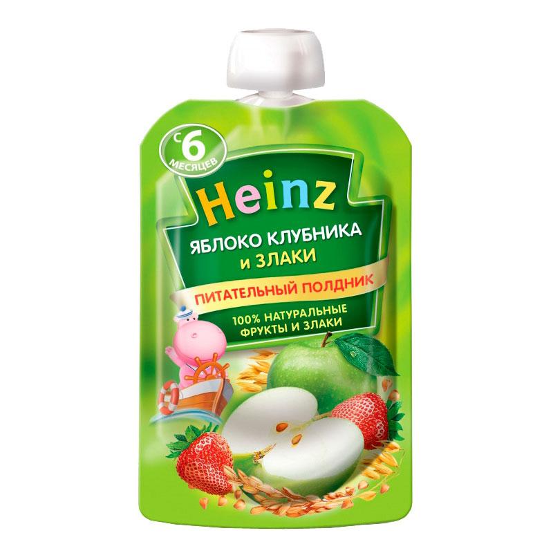 Пюре Хайнц фруктовое со  злаками 90 гр Яблоко клубника (с 6 мес)<br>