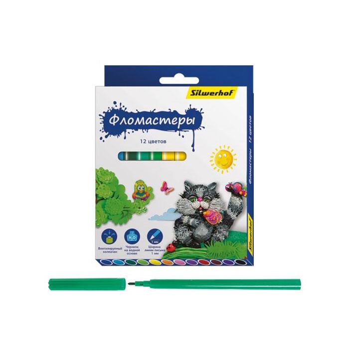 Фломастеры Silwerhof Пластилиновая коллекция 12 цветов