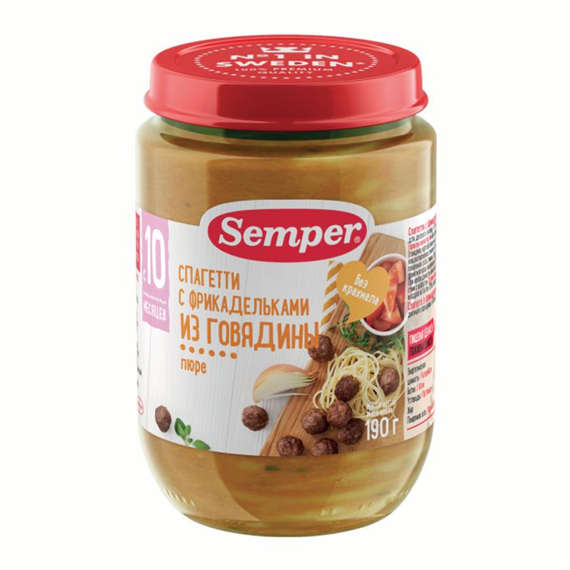 Пюре Semper обед с овощами 190 гр Спагетти с фрикадельками из говядины (с 10 мес)
