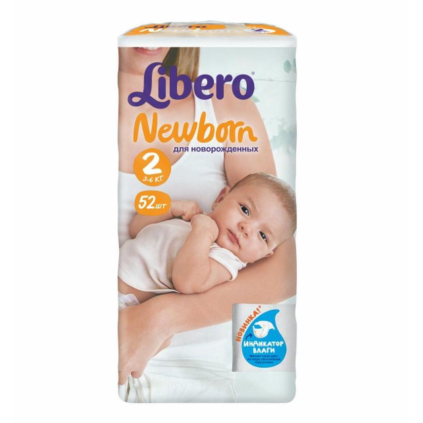 Подгузники Libero Newborn Mini 3-6 кг (52) Размер 2<br>