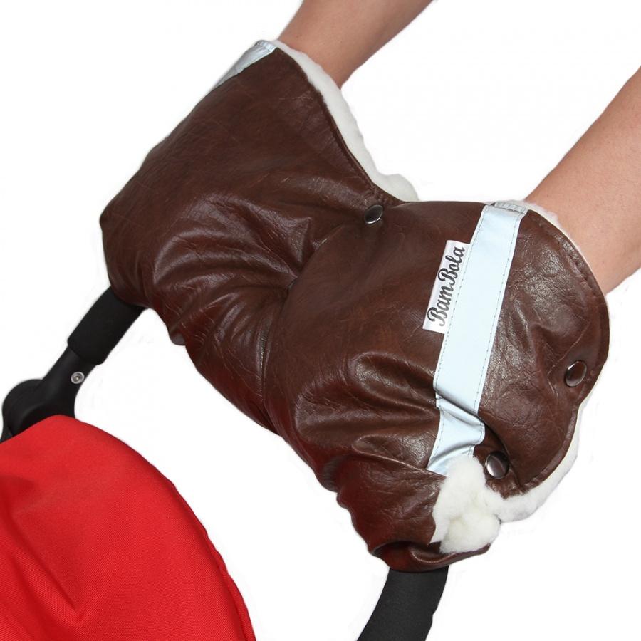 Муфта Bambola для коляски шерстяной мех плащевка кнопки Кожа Коричневый<br>
