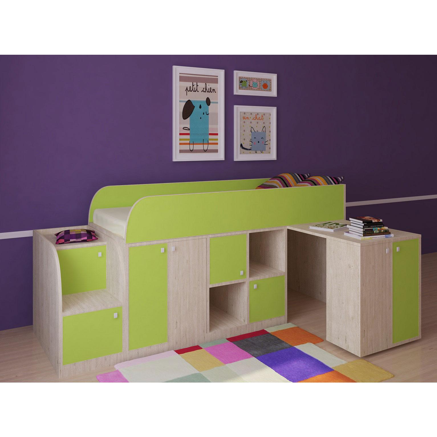 Набор мебели РВ-Мебель Астра мини Дуб молочный/Салатовый