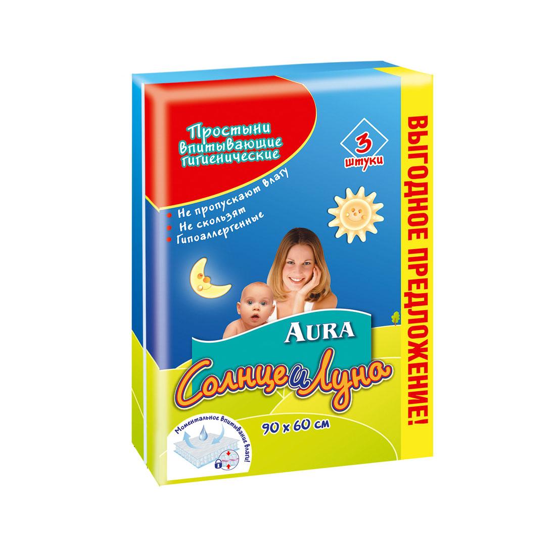 Пеленки AURA Солнце и луна гигиенические 60х90 см (3 шт)<br>