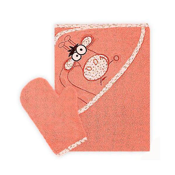 Полотенце-уголок Осьминожка Жираф с вышивкой махровое Оранжевое<br>