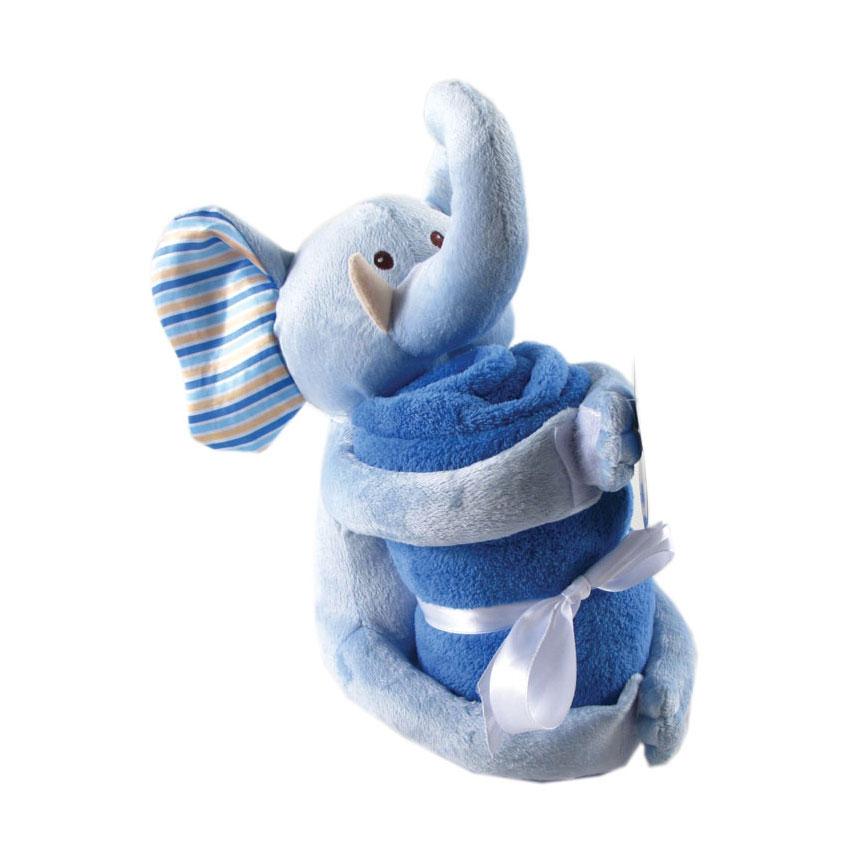 Комплект Hudson Baby Плед и игрушка, 2 пр., цвет голубой от 0 мес. (76х101 см)