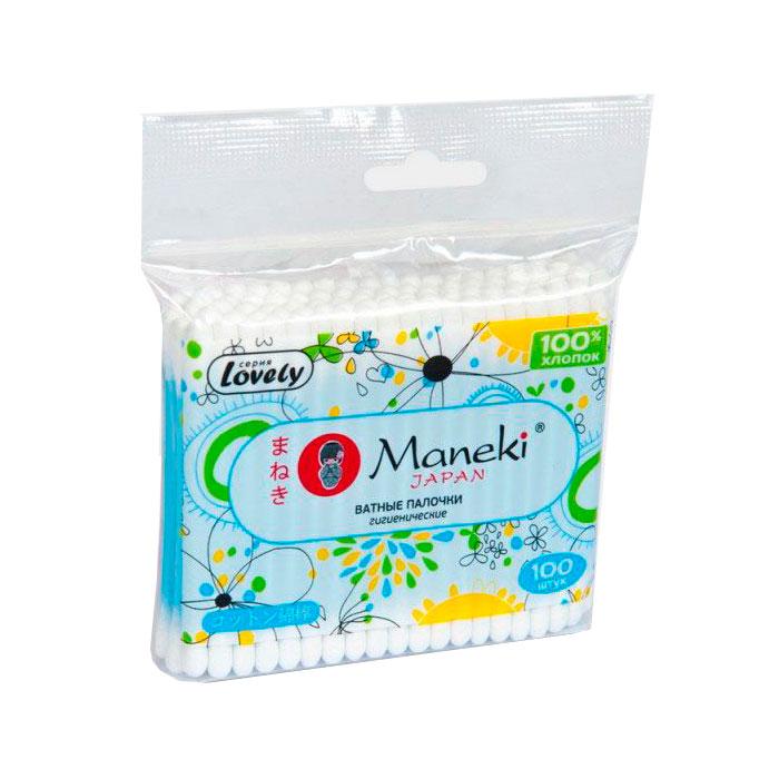 Ватные палочки Maneki Lovely (в zip-пакете) 100 шт.<br>