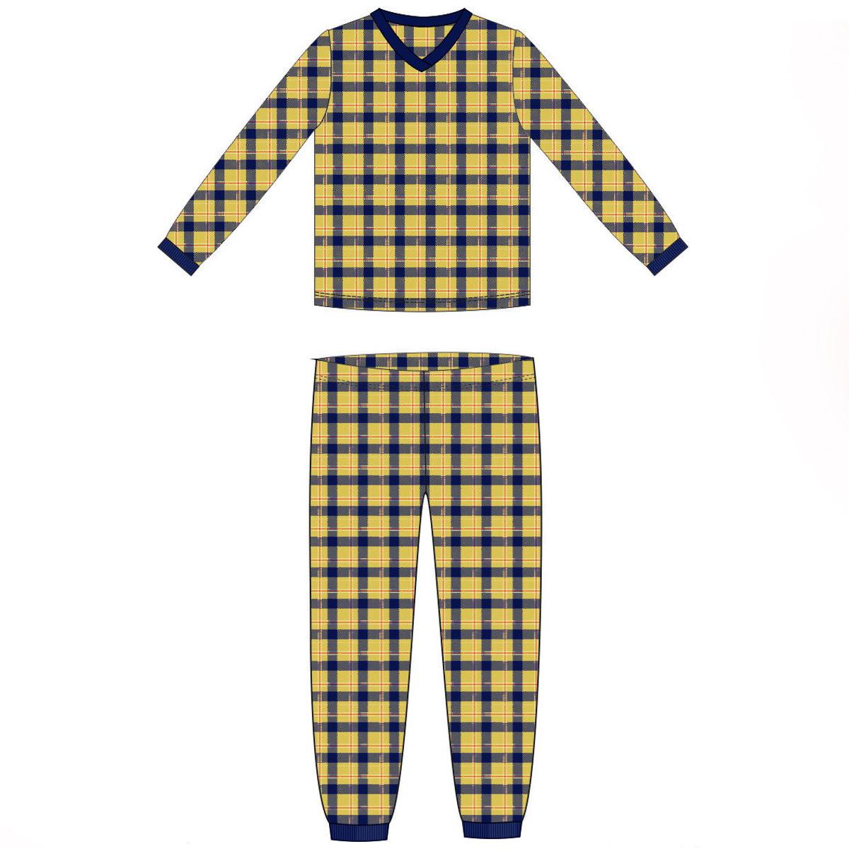 Пижама для мальчика Ёмаё (18-301) рост 86 клетка бежевая<br>