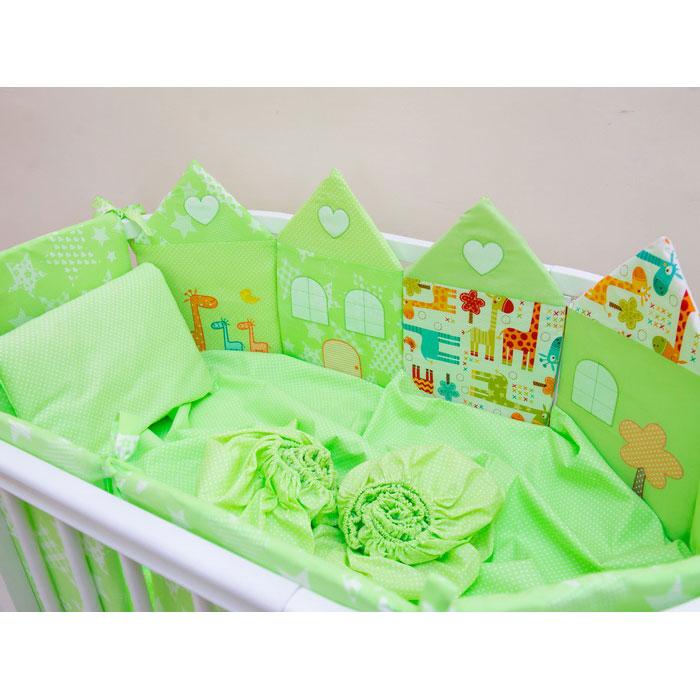 Комплект постельного белья Valle Grace для овальной кроватки 8 предметов Зеленый<br>