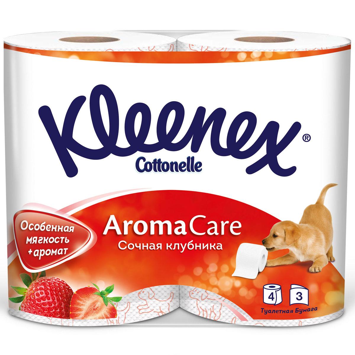 Туалетная бумага Kleenex сочная клубника (3 слоя) 4 шт<br>