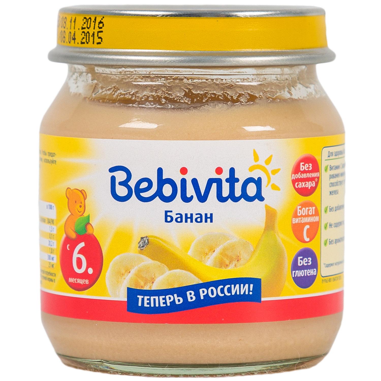 Пюре Bebivita фруктовое 100 гр Банан (с 6 мес)<br>
