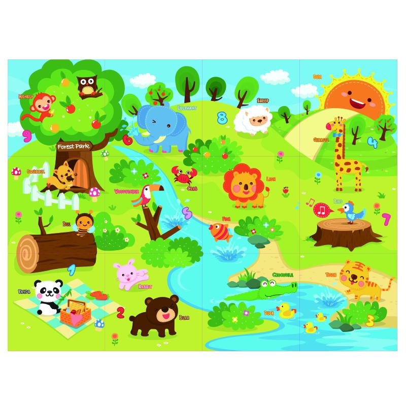 Детский развивающий коврик-пазл Mambobaby двухсторонний Животный мир 180х135х2<br>