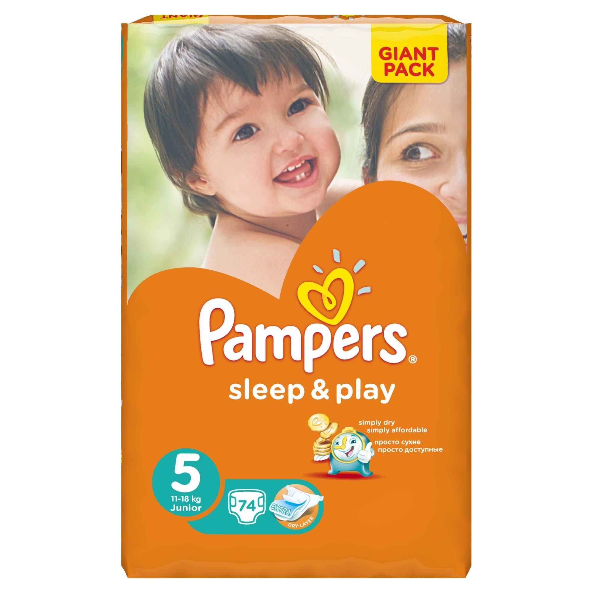 Подгузники Pampers Sleep&amp;amp;Play Junior 11-18 кг (74 шт) Размер 5<br>