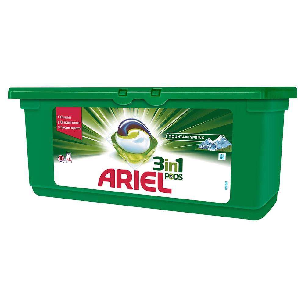 Капсулы для стирки Ariel 3 в 1 PODS Горный родник 30 X 28,8г<br>