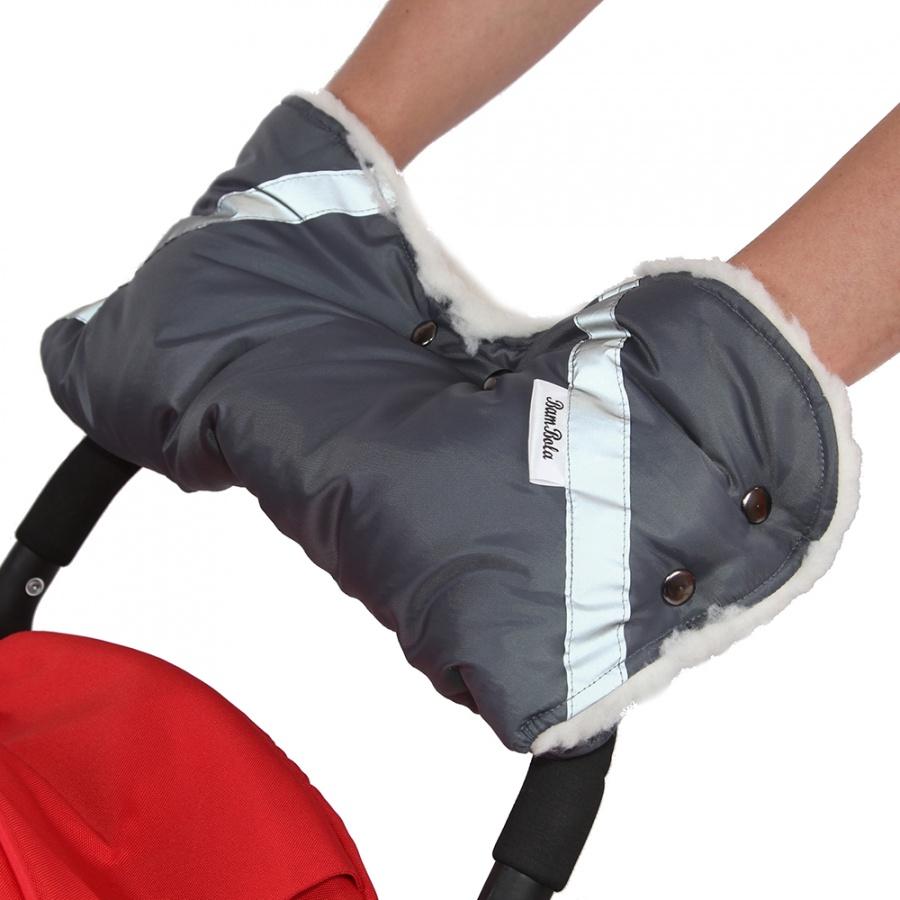 Муфта Bambola для коляски шерстяной мех плащевка кнопки Серый<br>