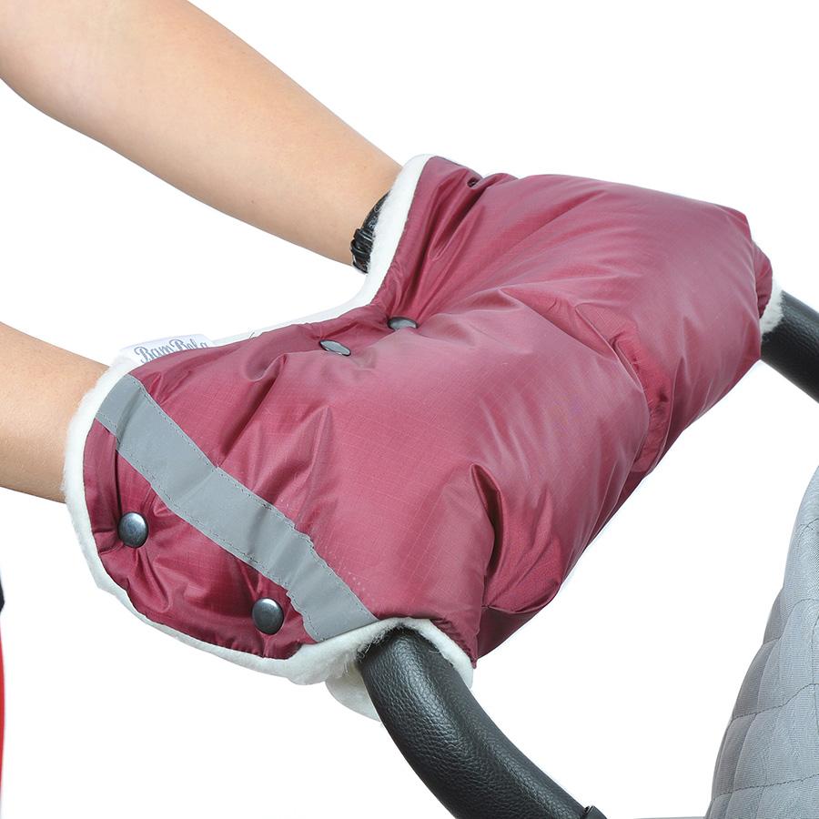 Муфта Bambola для коляски шерстяной мех плащевка кнопки Бордо<br>