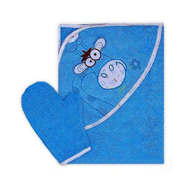 Полотенце-уголок Осьминожка Жираф с вышивкой махровое Голубое<br>