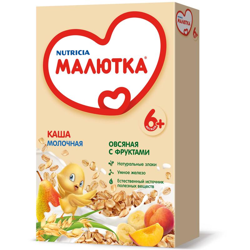 Каша Малютка молочная 250 гр Овсяная с фруктами (с 6 мес)<br>