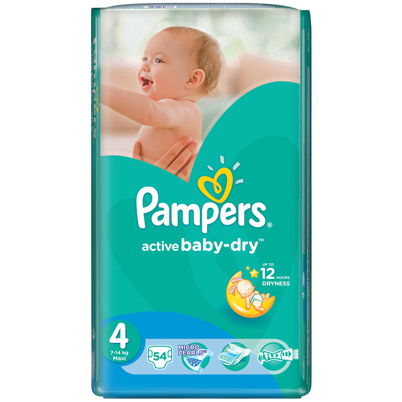 Подгузники Pampers Active Baby Maxi 7-14 кг (54 шт) Размер 4<br>