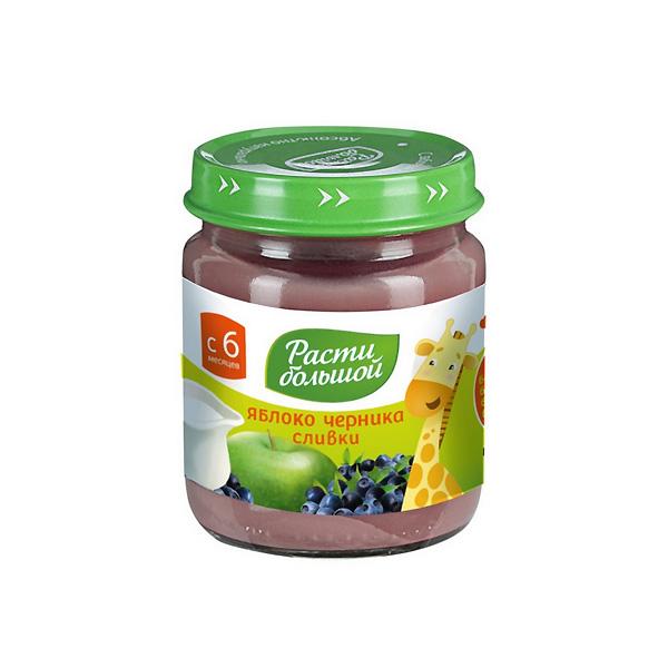 Пюре Расти Большой фруктовое со сливками 100 гр Яблоко черника со сливками (с 6 мес)<br>