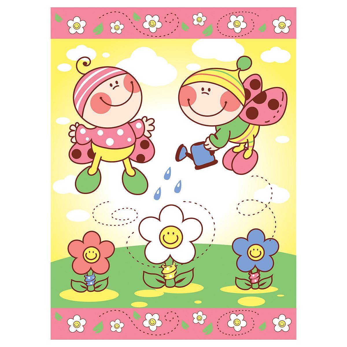 Одеяло Baby Nice байковое 100% хлопок 85х115 Жуки Розовый<br>