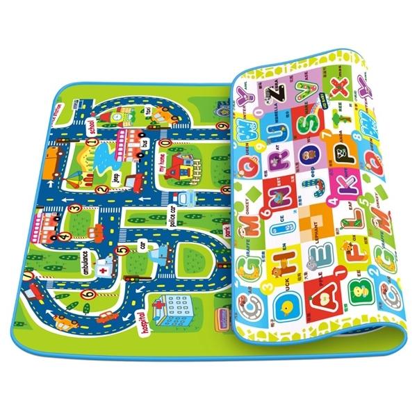 Детский развивающий коврик Mambobaby двухсторонний Город и Мир букв 280х160х1<br>