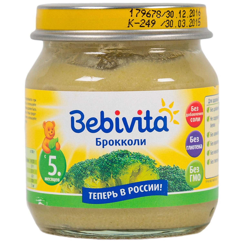 Пюре Bebivita овощное 100 гр Брокколи (с 5 мес)<br>