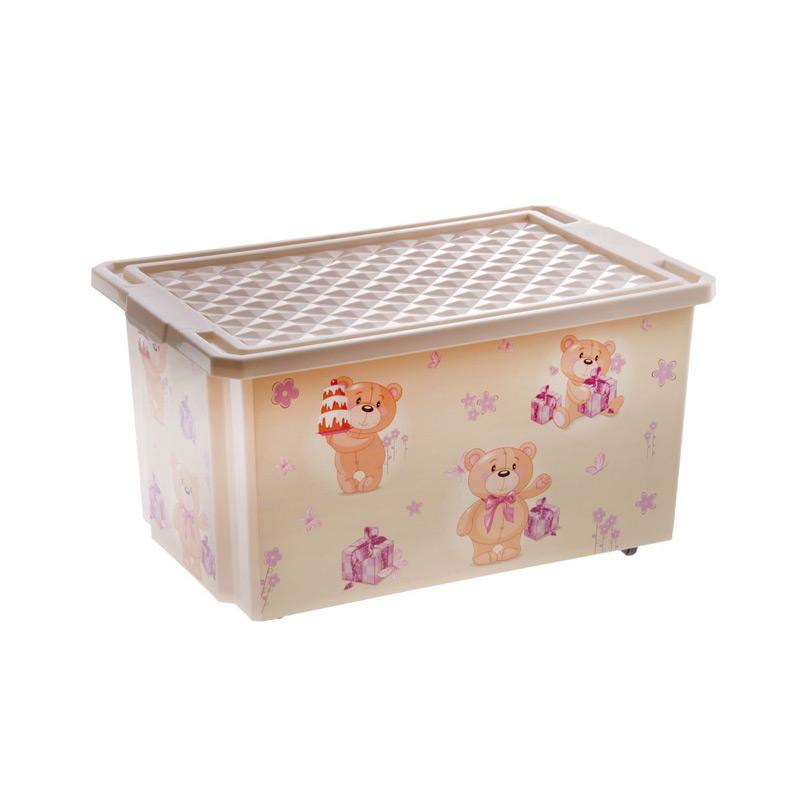 Ящик для хранения игрушек Little Angel X-Box Bears 57л на колесах Слоновая кость