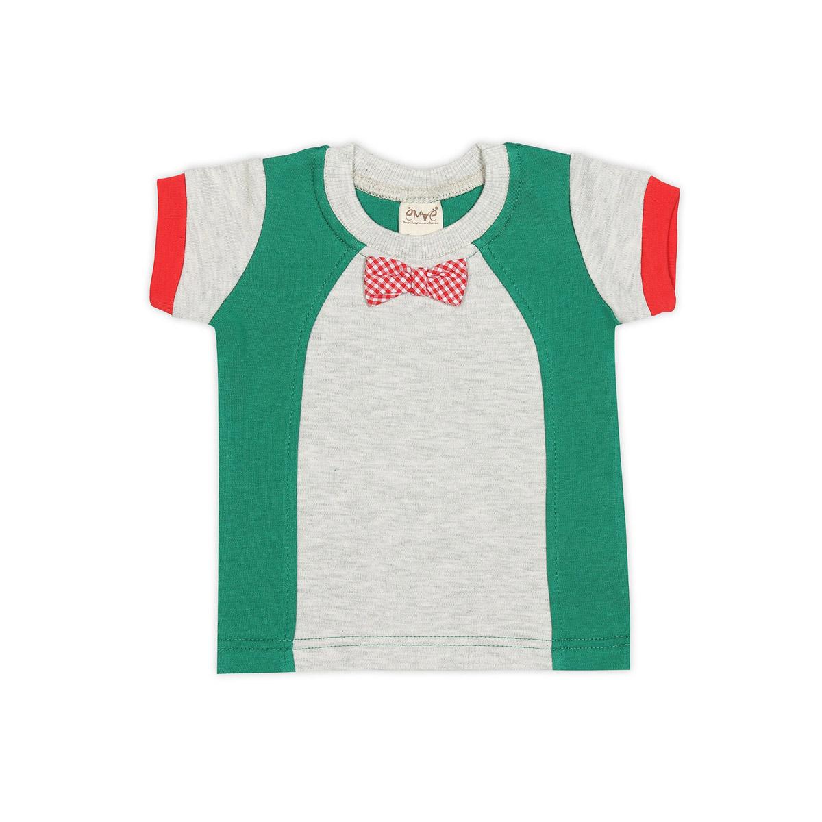 Футболка Ёмаё Хохлома (27-636) рост 74 светло серый меланж с зеленым<br>