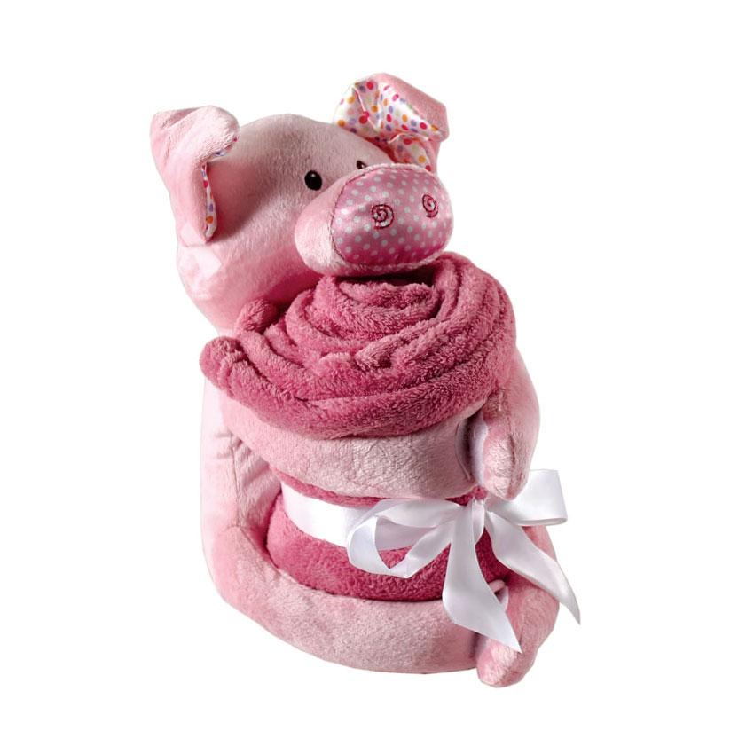 Комплект Hudson Baby Плед и игрушка, 2 пр., цвет розовый от 0 мес. (76х101 см)