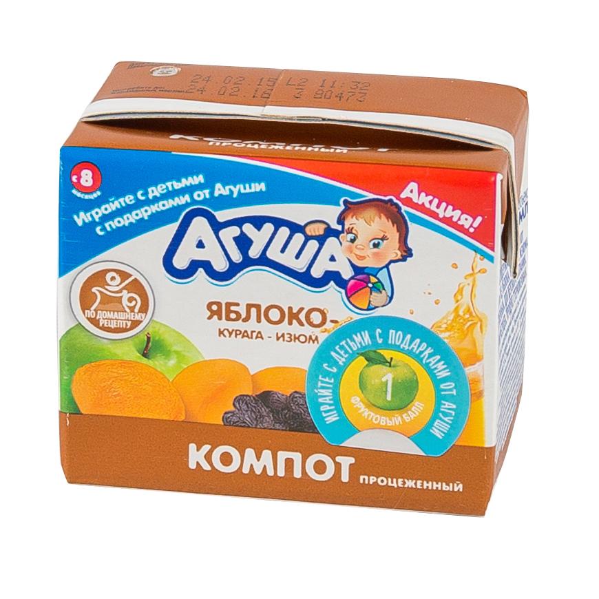 Компот Агуша 200 мл (тетрапак) Изюм курага яблоко (с 8 мес)