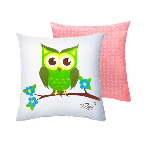 Подушка Roxie Сова с наволочкой на молнии Розовый горох<br>