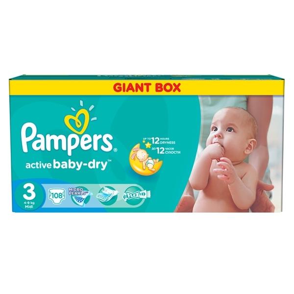 Подгузники Pampers Active Baby Midi 4-9 кг (108 шт) Размер 3<br>