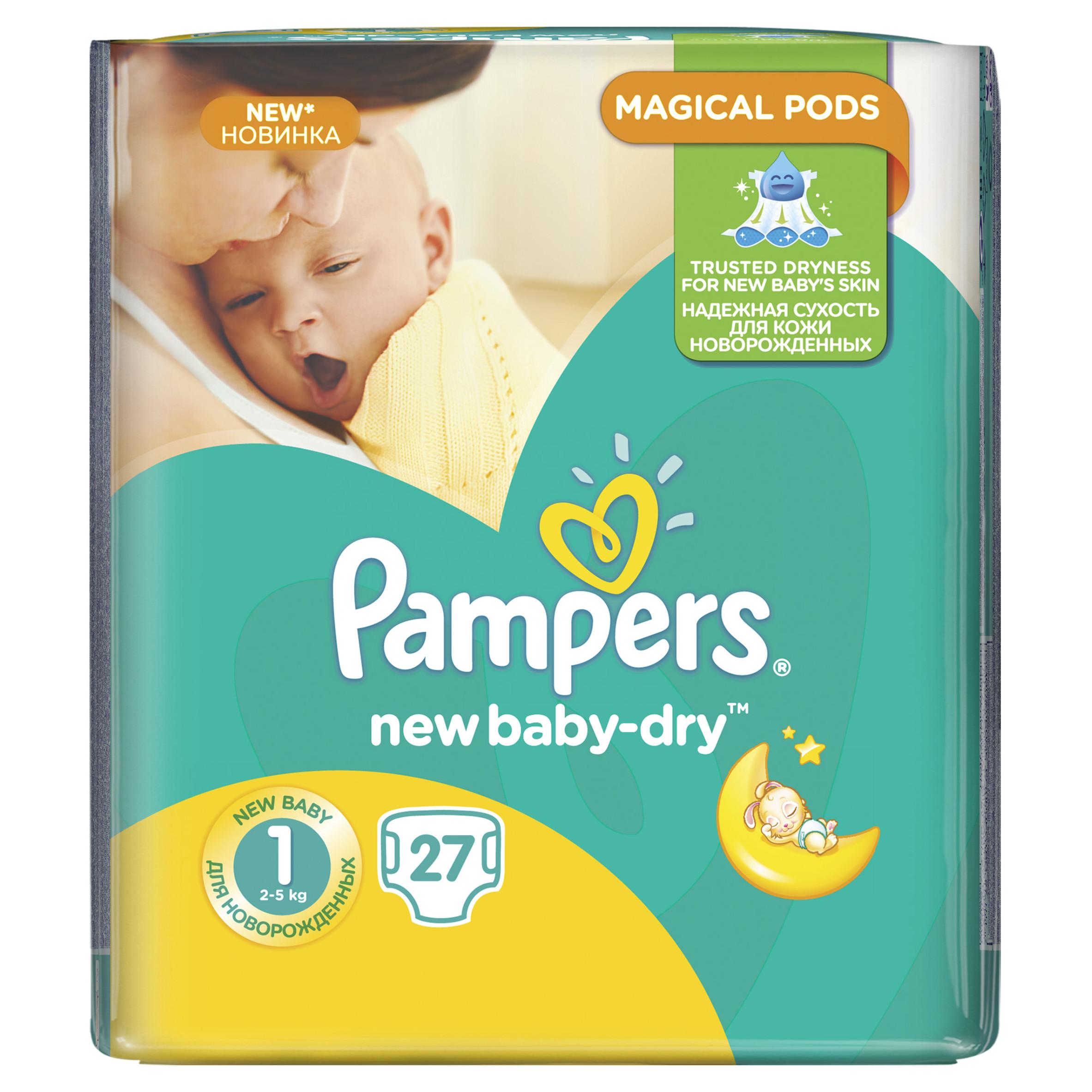 Подгузники Pampers New Baby Newborn 2-5 кг (27 шт) Размер 1<br>