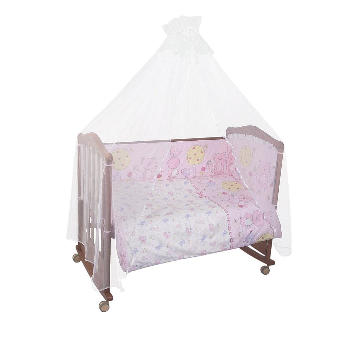 Комплект в кроватку Сонный гномик Акварель 4 предмета Розовый<br>